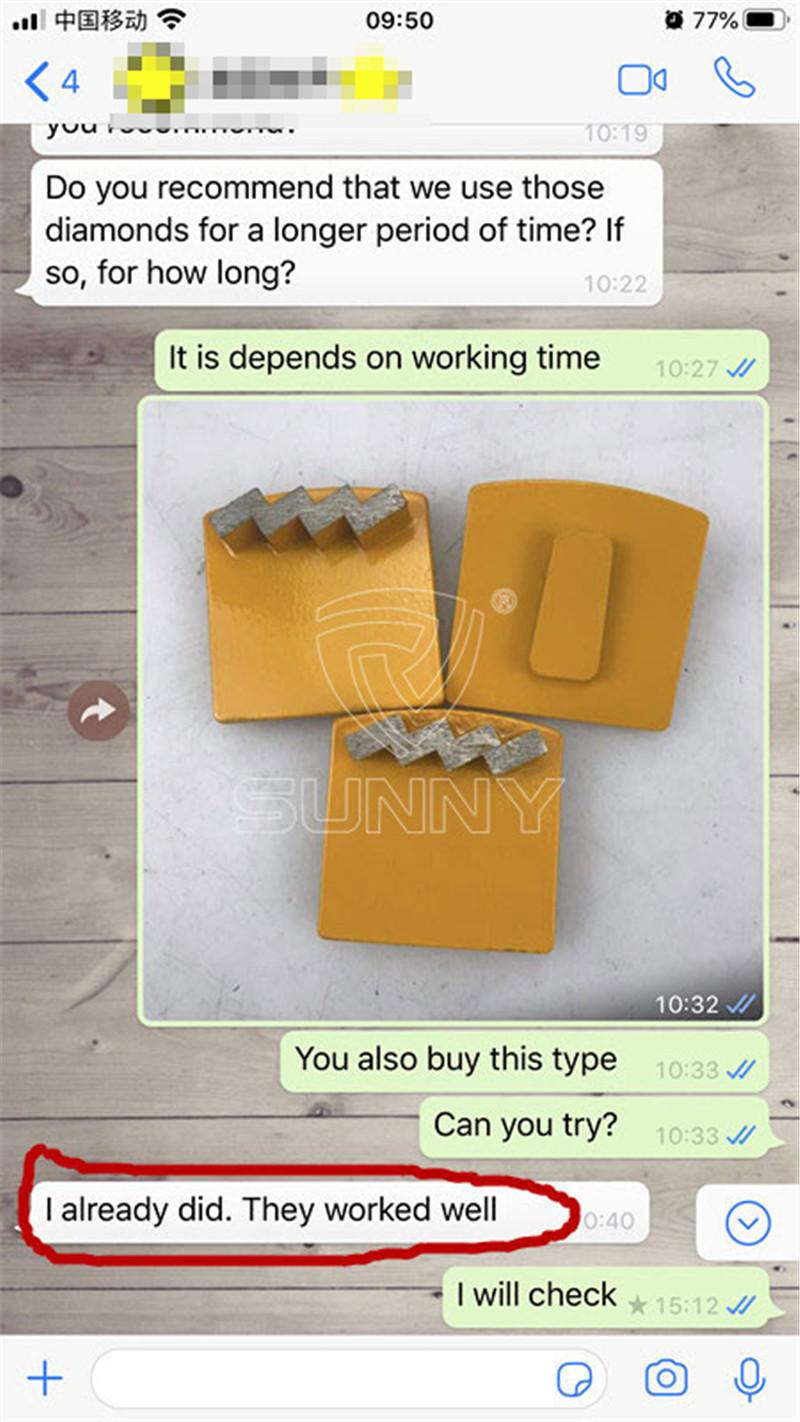 feedback of sunny zigzag husqvarna diamond grinding plate