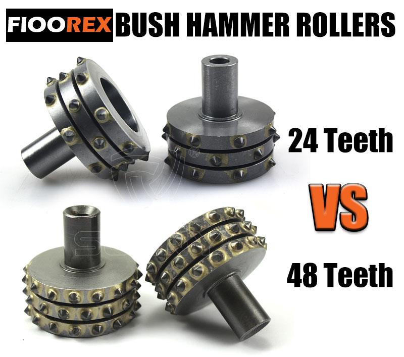 Floorex bush hammer roller 24 teeth VS 48 teeth