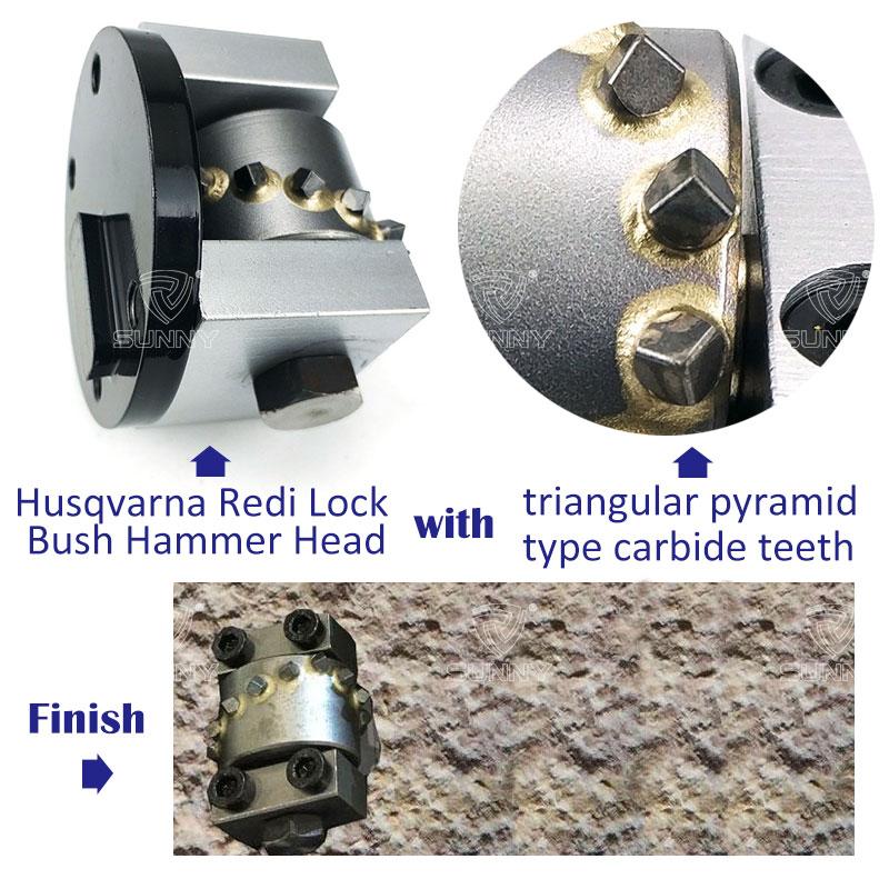 husqvarna redi lock bush hammer head with triangular pyramid type carbide teeth
